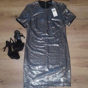 Ralph Lauren Silver Sequin Shift Dress